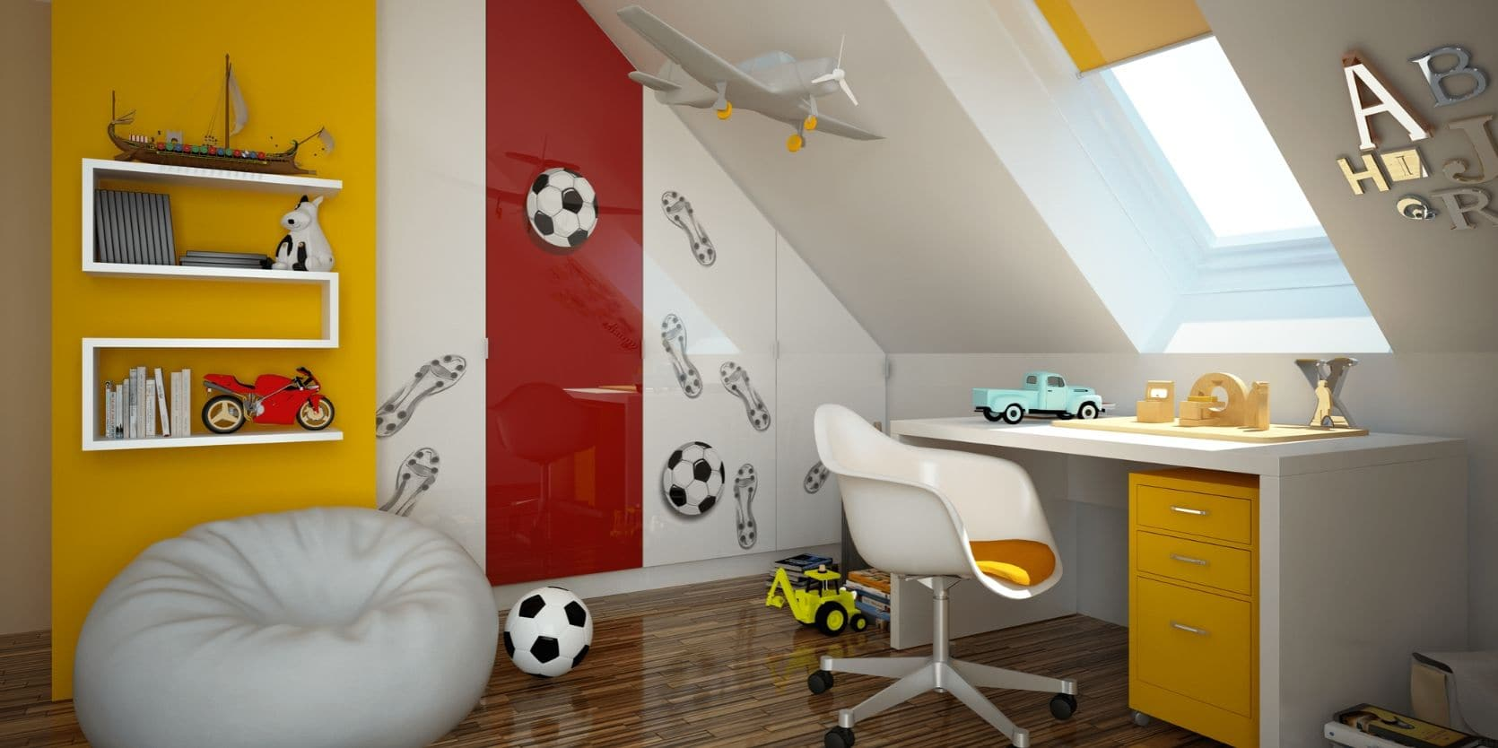 Child's bedroom with bean bag and footballs