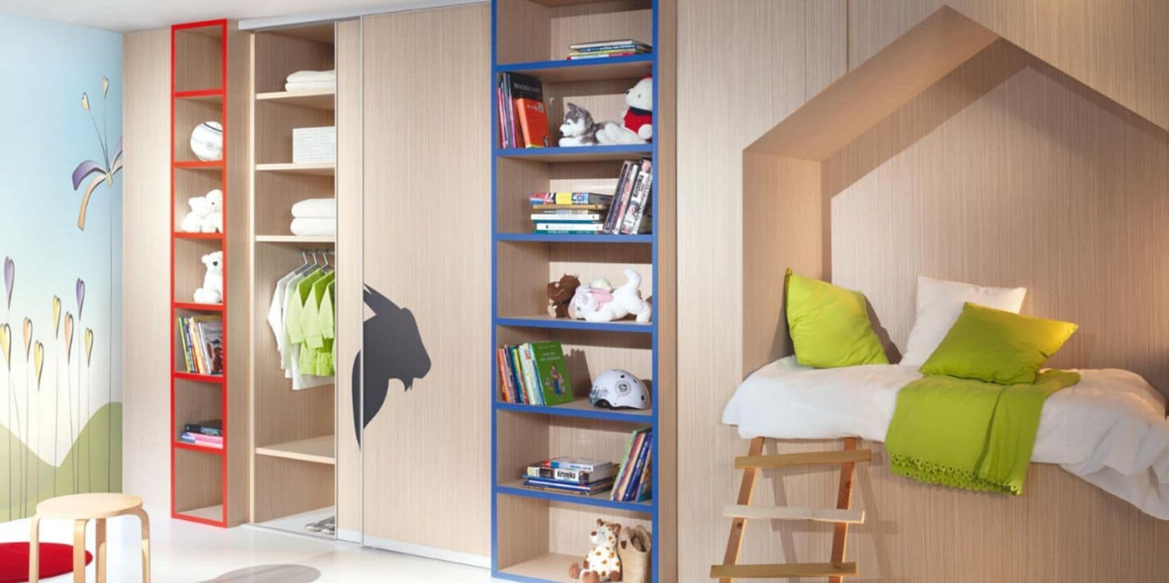 Child's bedroom with built-in wardrobe and nook