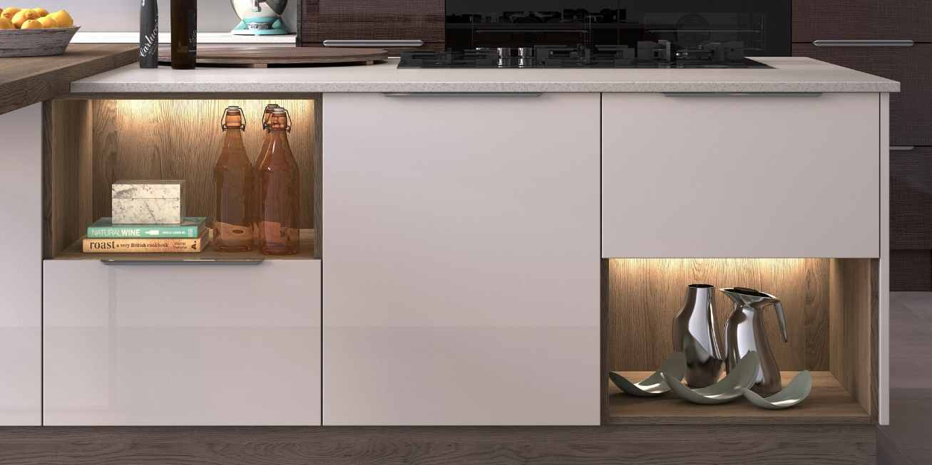 Mereway, Cucina Colore Collection Kitchen Island With Feature Shelves