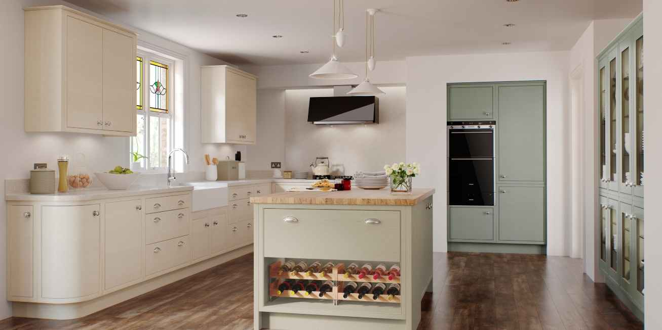 Mereway, English Revival, Modern Classic Collection Kitchen Island With Wine Rack