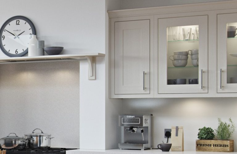 Chalk White and Gunmetal Gret Wooden mantle shelf and feature glazed wall cabinet