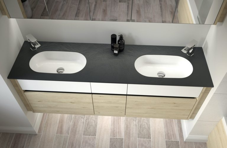 Contemporary Fitted Flat White and Washed Oak Cameo