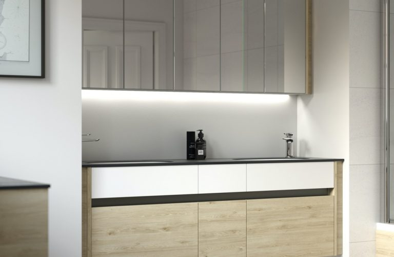 Contemporary Fitted Flat White and Washed Oak