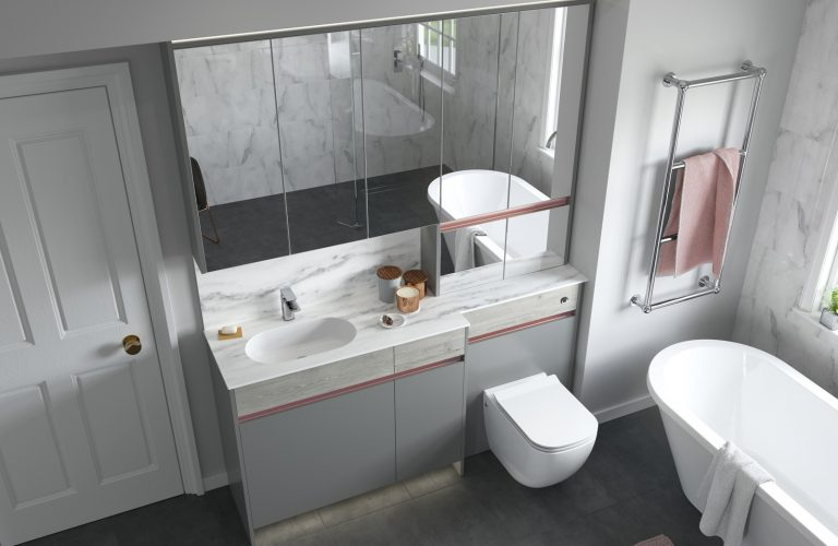 Contemporary Fitted Sandwashed White and Flat Grey Cameo