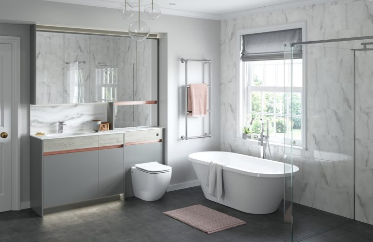 Contemporary Fitted Sandwashed White and Flat Grey