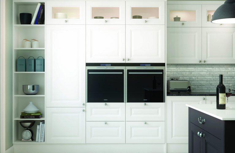Gainsborough Open Shelf Unit with Glazed Wall Units Cameo