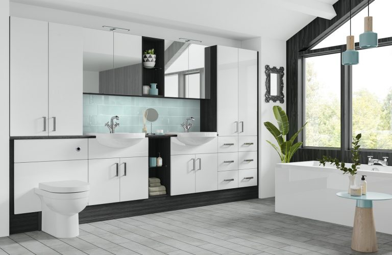 Original Fitted Nadia White Gloss and Black Linear